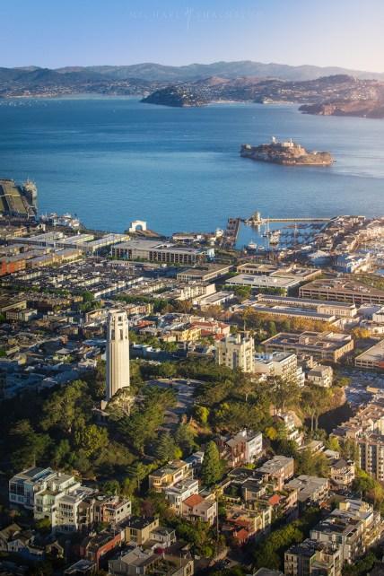 Coit Tower Alcatraz Aerial San Francisco