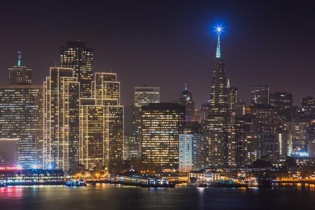 San Francisco Skyline City Transamerica Night