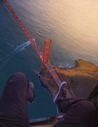 Feet Legs Helicopter Golden Gate Bridge