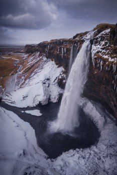 Seljalandsfoss Iceland Aerial Waterfall