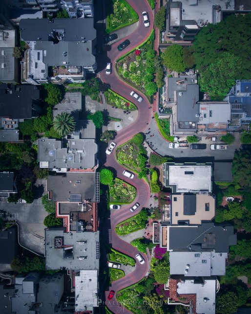 lombard street aerial photography