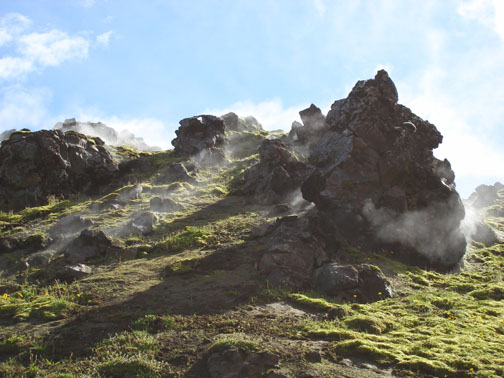 Landmannalaugar is also another geothermally active area, where holes in the ground spew steam and sulfur.