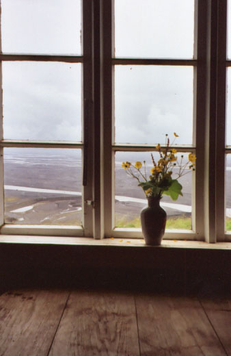 This is inside one of the farmhouses, looking out over the flood plain leading to the ocean.