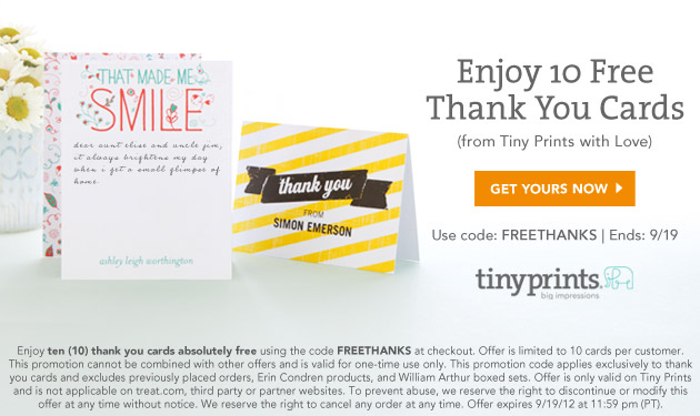 Tiny Prints 10 Free Thank You Cards