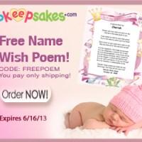 Free Name Wish Poem Print From Birthday Keepsakes