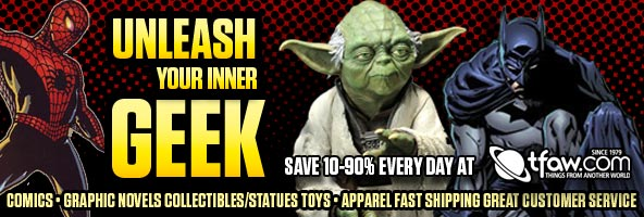 Save 10-80% on comics and collectibles at TFAW.com