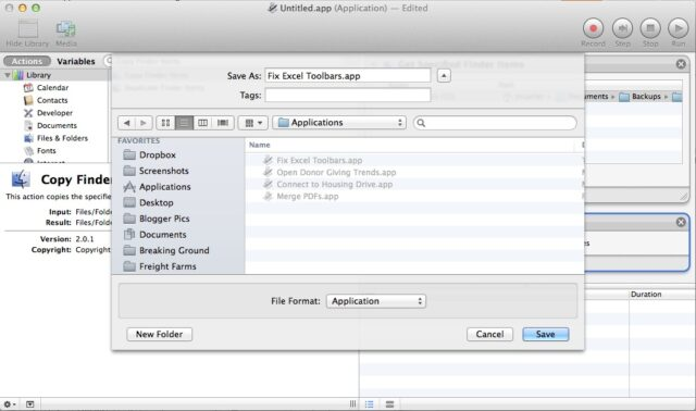 how to add an application to toolbar on mac