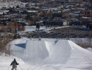 """The kids getting ready to """"leap"""" off a terrain jump in Park City"""