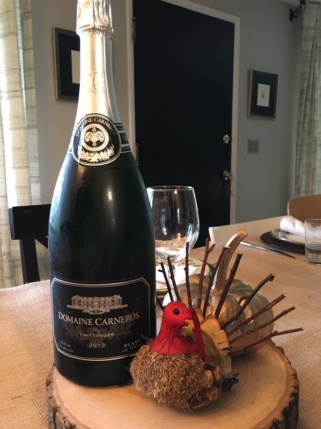 We started with a magnum of Domaine Carneros Sparkling Wine, Blanc de Noir.