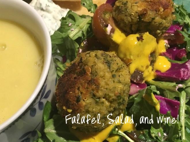 Falafel, Salad, and Wine