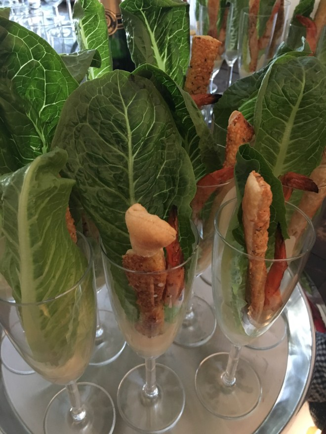 Grilled Shrimp Caesar Salad Flutes