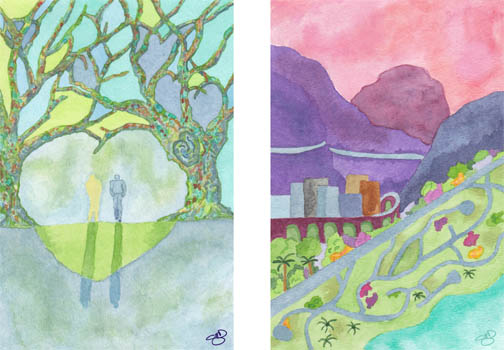 The Geography of Loss by Patti Digh. To be released January 2014. Watercolor on 140 lb. cold press