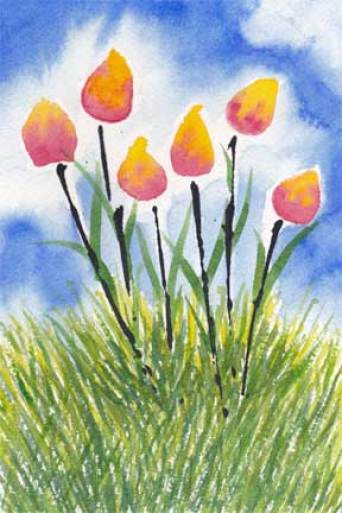 Tulips. Watercolor and Acrylic on 140 lb. Arches cold pressed paper. © 2014 Sheila Delgado