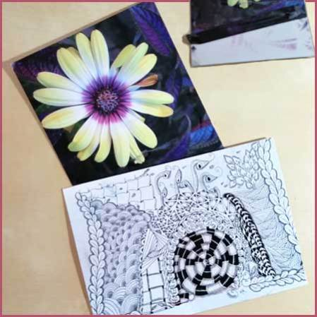 L.Y.A. Side swaps. Vibrant Flower by Teena Lurlene and Zentangle Art by Kat van Rooyen.