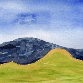 Hills 1. 4 x 5 watercolor on Arches 140 lb. cold pressed paper. 2016 Sheila Delgado