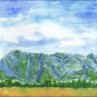Mountains Blue. 5 x 5 watercolor and gouache on 140 lb. cold pressed paper. © 2016 Sheila Delgado