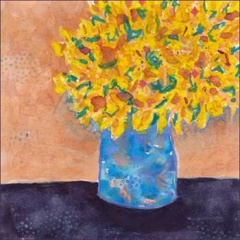 Bright Vase. 5 x 5 watercolor on Arches 140 lb. cold pressed paper. © 2017 Sheila Delgado