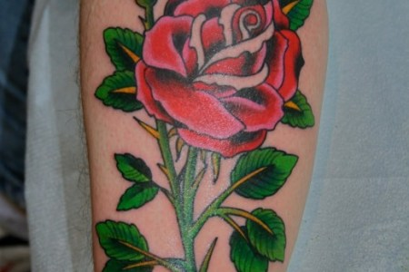 cool rose tattoo design on leg 520x779
