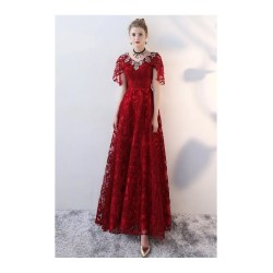 Idyllic Cape Hover To Zoom Burgundy Long Red Lace Formal Dress Withcape Sleeves Long Red Dress Prom Long Red Dress Amazon Burgundy Long Red Lace Formal Dress