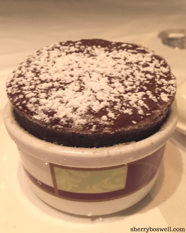 Girlfriends trip on Disney cruise line Palo chocolate souffle