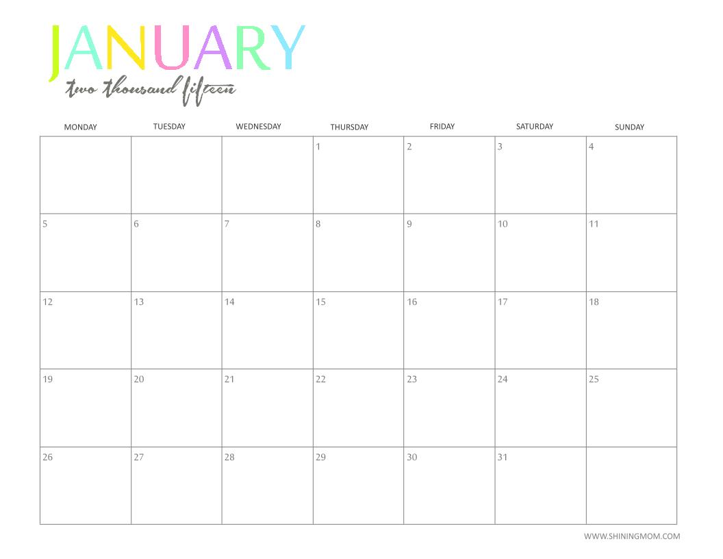 Free 2015 Printable Calendar by ShiningMom: Fun and Colorful!