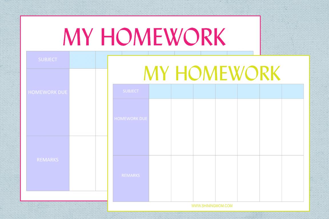 Free Printable Homework Planner