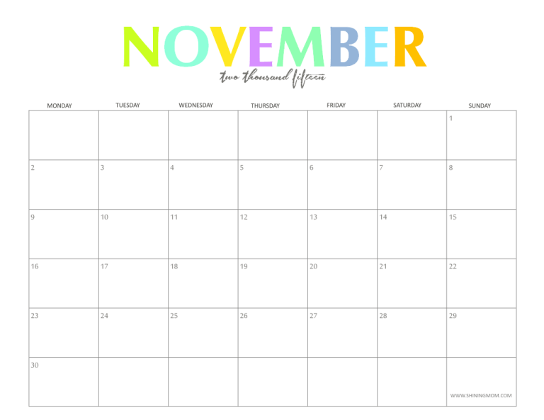 the colorful 2015 monthly calendars by shiningmom com are here