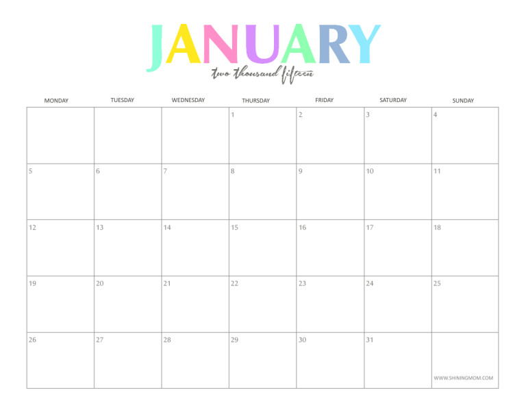 Weekly Calendar Colorful : The colorful monthly calendars by shiningmom are