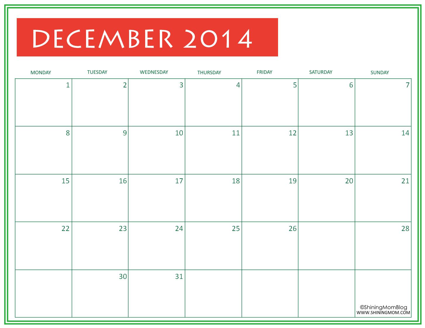 FREE Printable December 2014 Calendar by Shining Mom