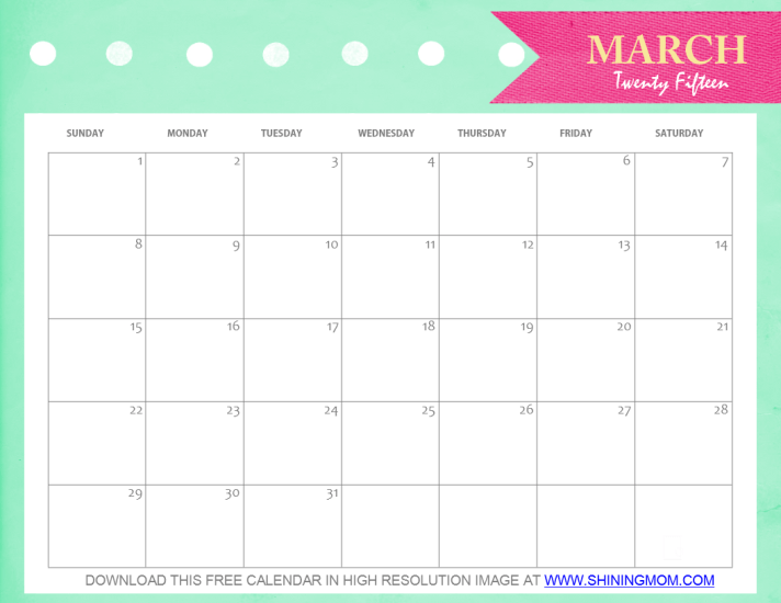Calendar Pretty : Free printable march calendar cute and pretty
