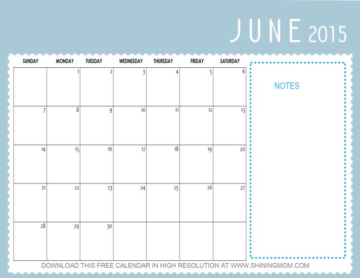 Calendar June 2015 : Pretty calendars for june