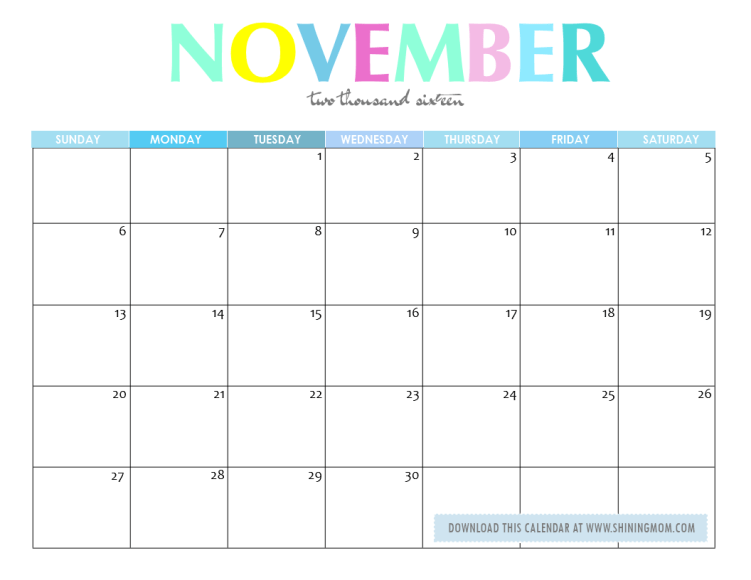 ... printable october 2016 calendar free printable november 2016 calendar