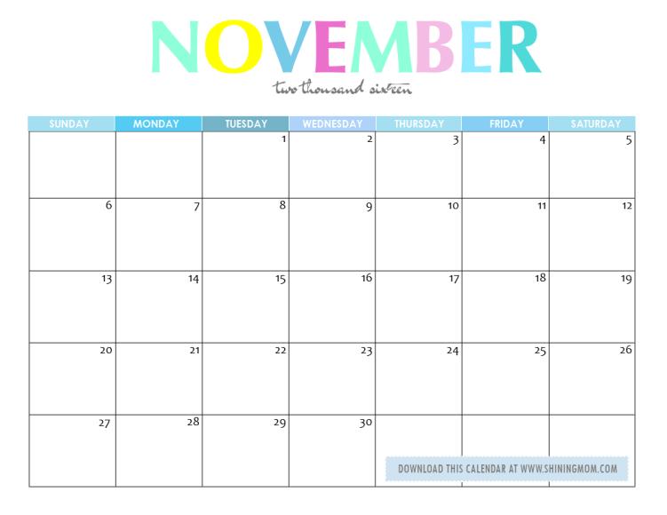 free printable october 2016 calendar free printable november 2016 ...