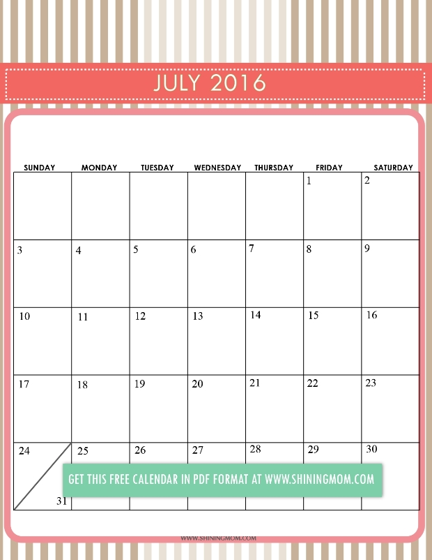 ... favorite of mine is this August 2016 calendar. It looks fun and cool