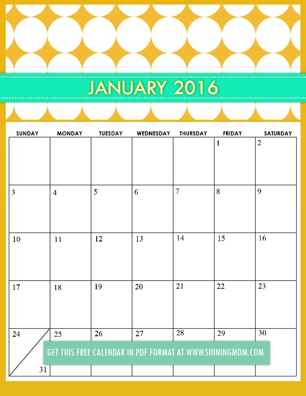 January Calendar Girl Pdf : Free printable cute calendars by shining mom