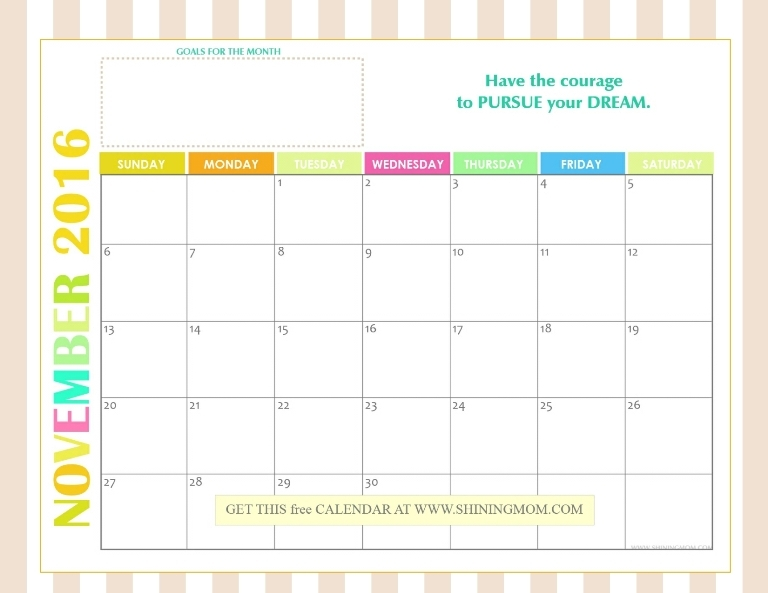 Free 2016 Monthly Calendars: Bright and Cheery!