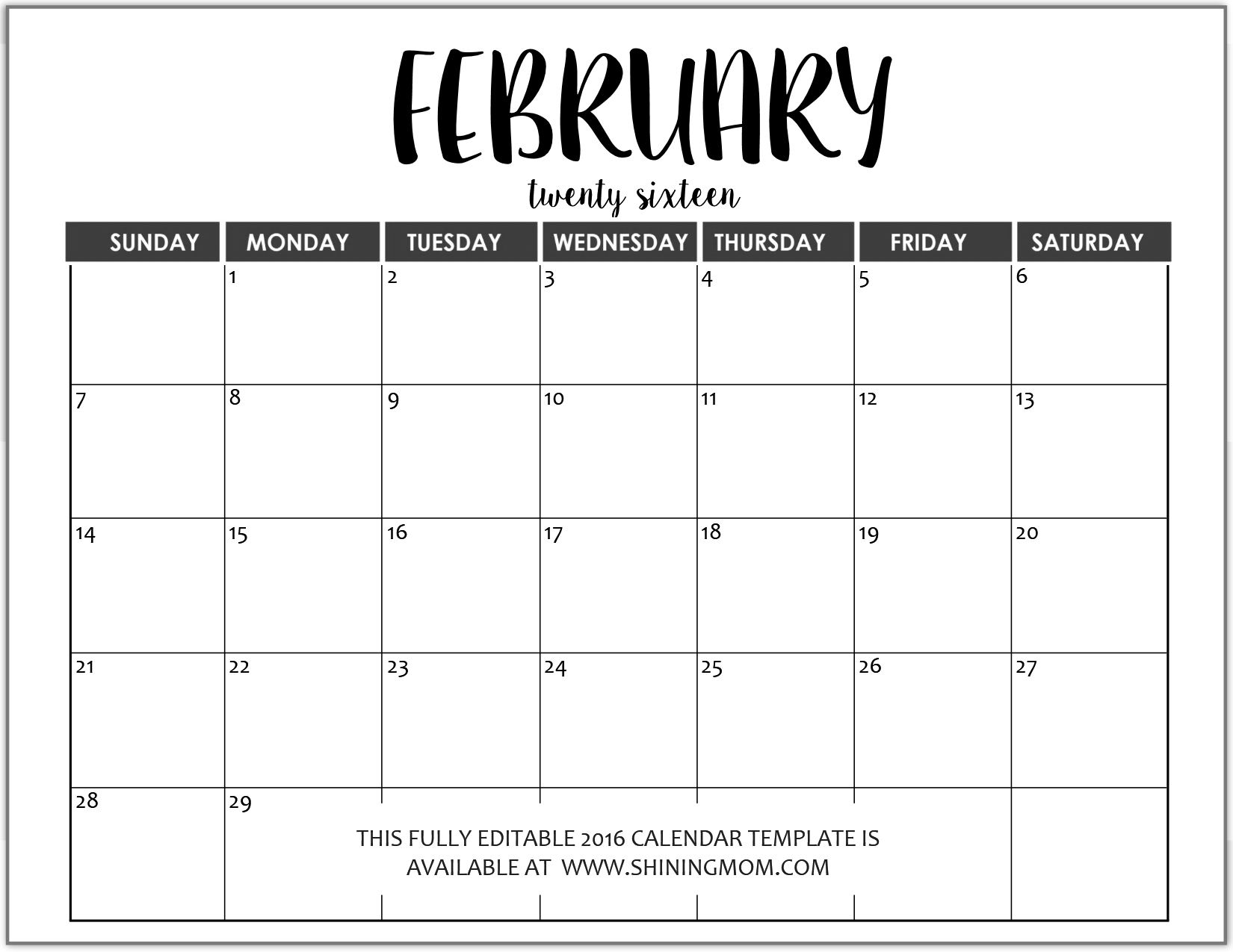 Just in fully editable 2016 calendar templates in ms word for Does word have a calendar template