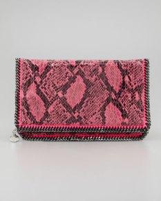 Stella McCartney – Falabella Snake-Print Foldover Clutch Bag, Fuchsia