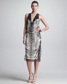 Roberto Cavalli – Mixed-Print Dress & Metallic Belt