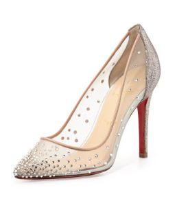 Christian Louboutin – Body Strass Mesh Red-Sole Pump in Grenadine