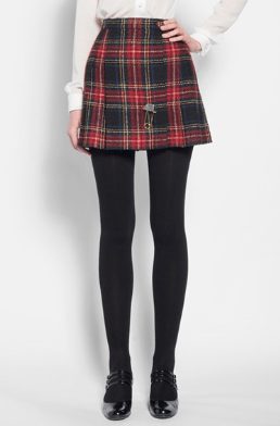 Saint Laurent Paris Tartan Kilt Skirt