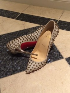 Christian Louboutin Follies Spiked Glitter Pumps in Silver