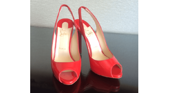Christian Louboutin Private Patent Leather Peep-Toe Slingback Pumps