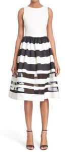 Alice And Olivia LarueI llusion Strip Fit And Flare Dress