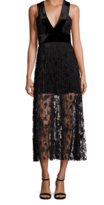 A.L.C. Lola Velvet and Embroidered Lace Midi Dress