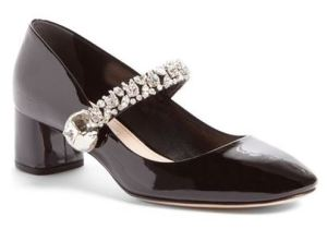 Miu Miu Crystal Studded Mary Jane Pump