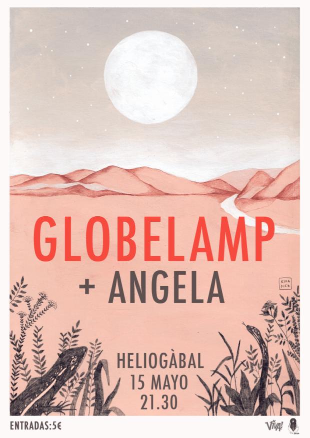Cartel del concierto de Globelamp con Angela / Kira Díaz