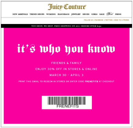 Juicy Couture Friends & Family Sale