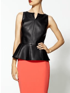 vegan leather pleather peplum top