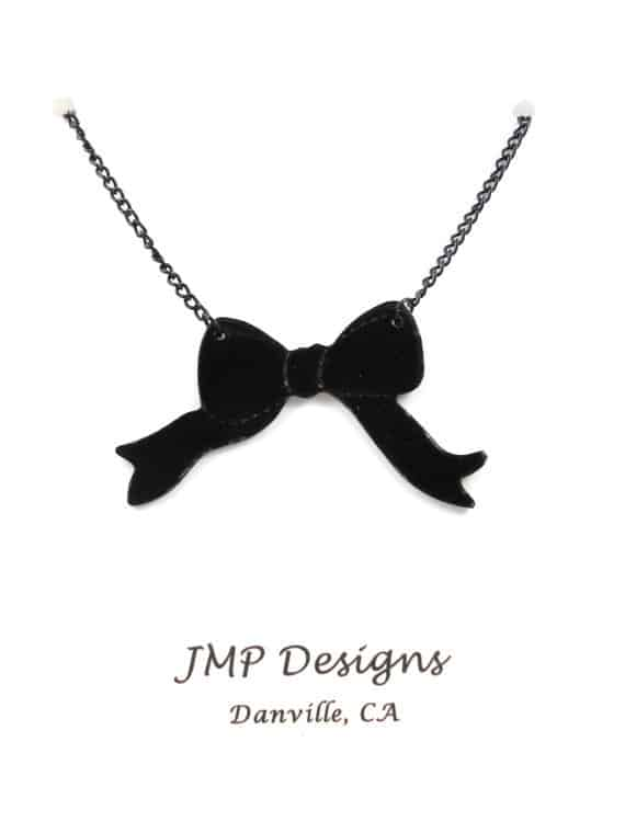 black bow lp necklace